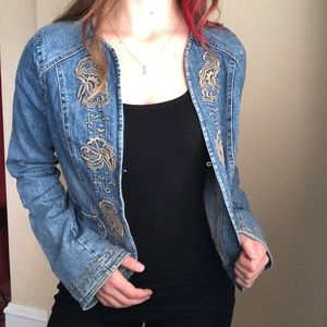 Jackets & Blazers - Denim Jacket with Embroidered Trimming